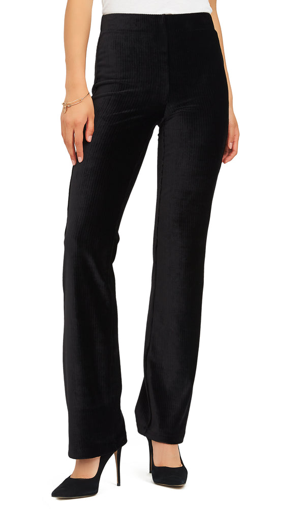 Pull-On Ribbed Velour Flare Pants