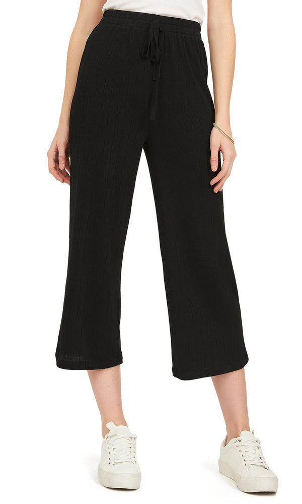 Ribbed Knit Elastic Waist Gaucho Pants