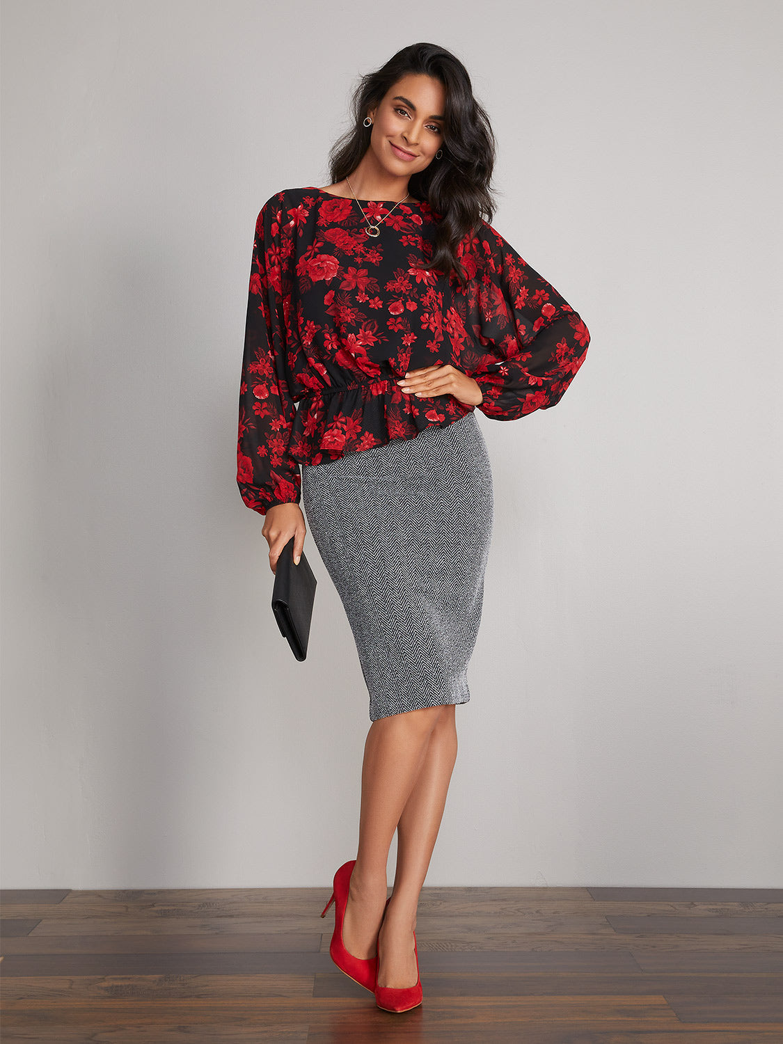 Houndstooth Knit Midi Pencil Skirt