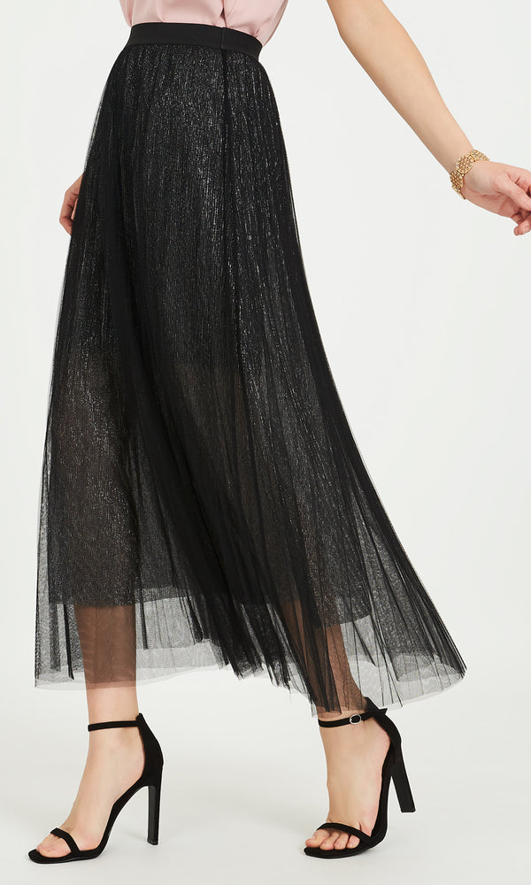 Mesh Pleated Skirt