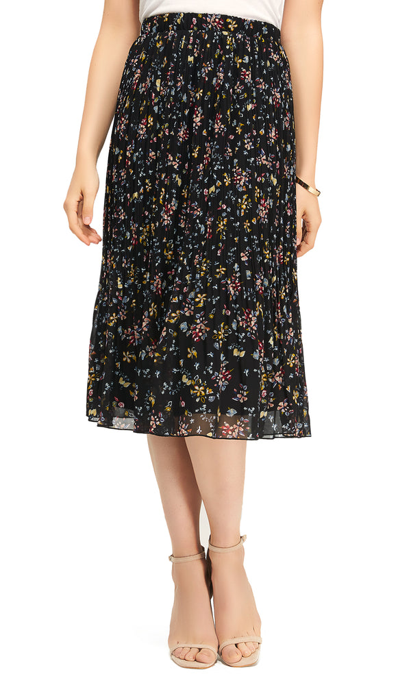 Midi Length Pleated Skirt