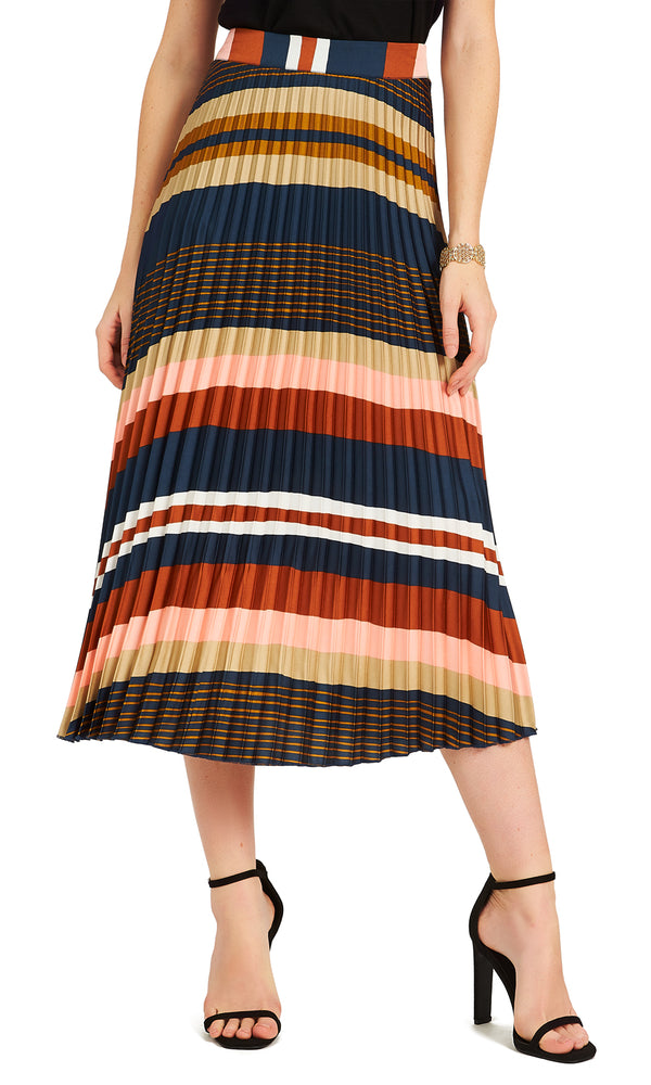 ef7741d2a Multicolored Horizontal Striped Pleated Skirt Multicolored Horizontal  Striped Pleated Skirt