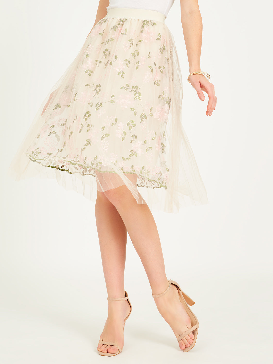 Printed Mesh Pleated Skirt