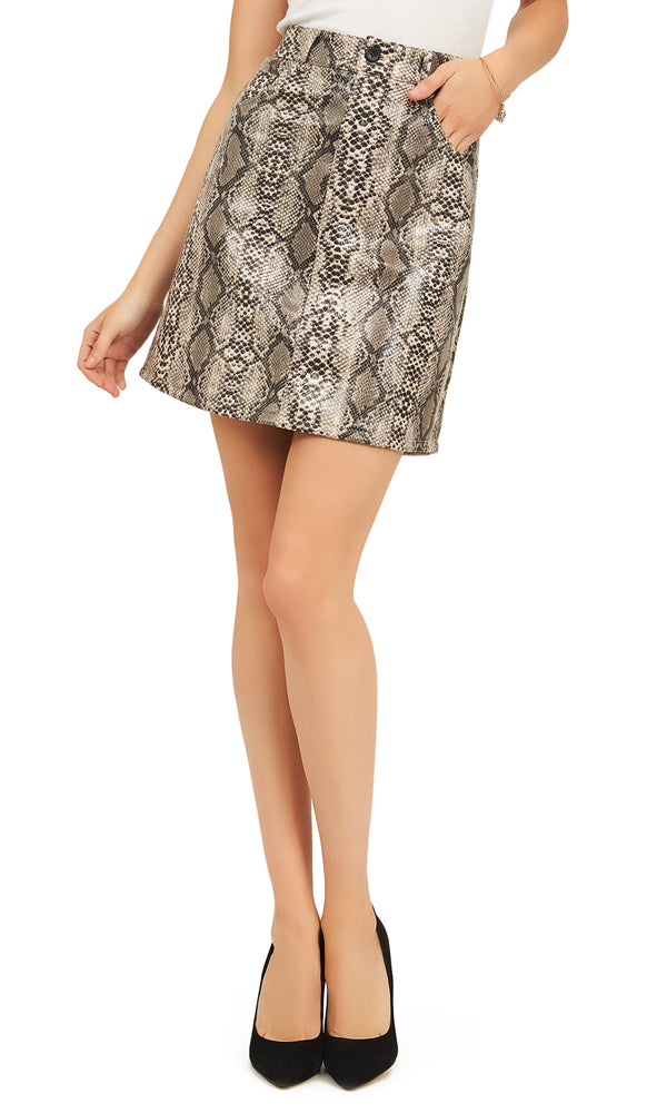 Reptile Print Short Skirt