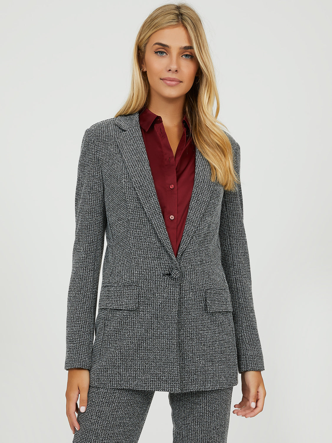 Knitted Houndstooth Blazer