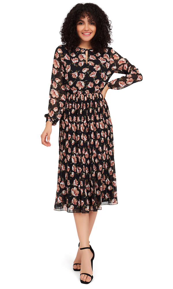 Crystal Pleat Floral Midi Dress