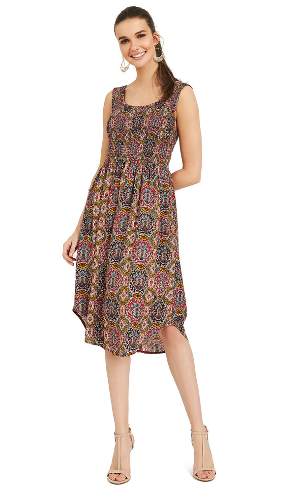 Print Scoop Neck Midi Dress