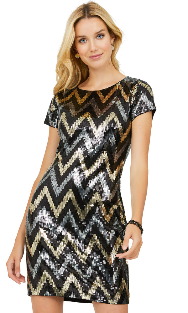 Short Sleeve Sequin Mini Dress