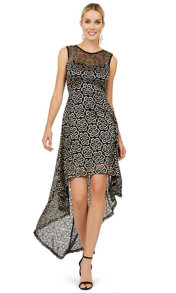 Gold Print Sleeveless High-Low Dress