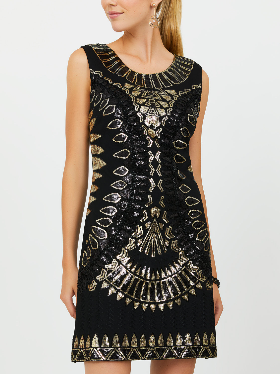 Sleeveless Gem-Embellished Sheath Dress