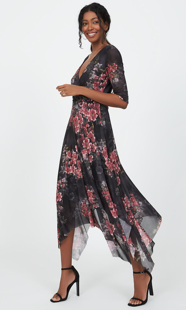 Floral Crossover Handkerchief Midi Dress
