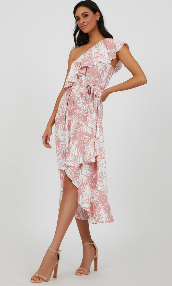 One Shoulder Flounce Wrap Printed Midi Dress