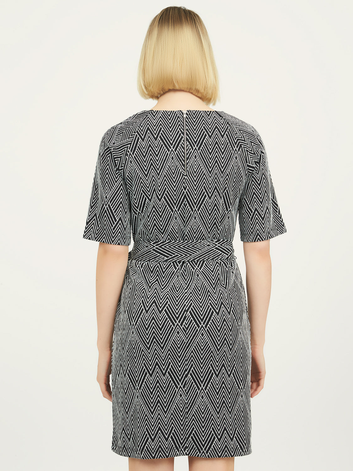 Jacquard Crew Neck Dress