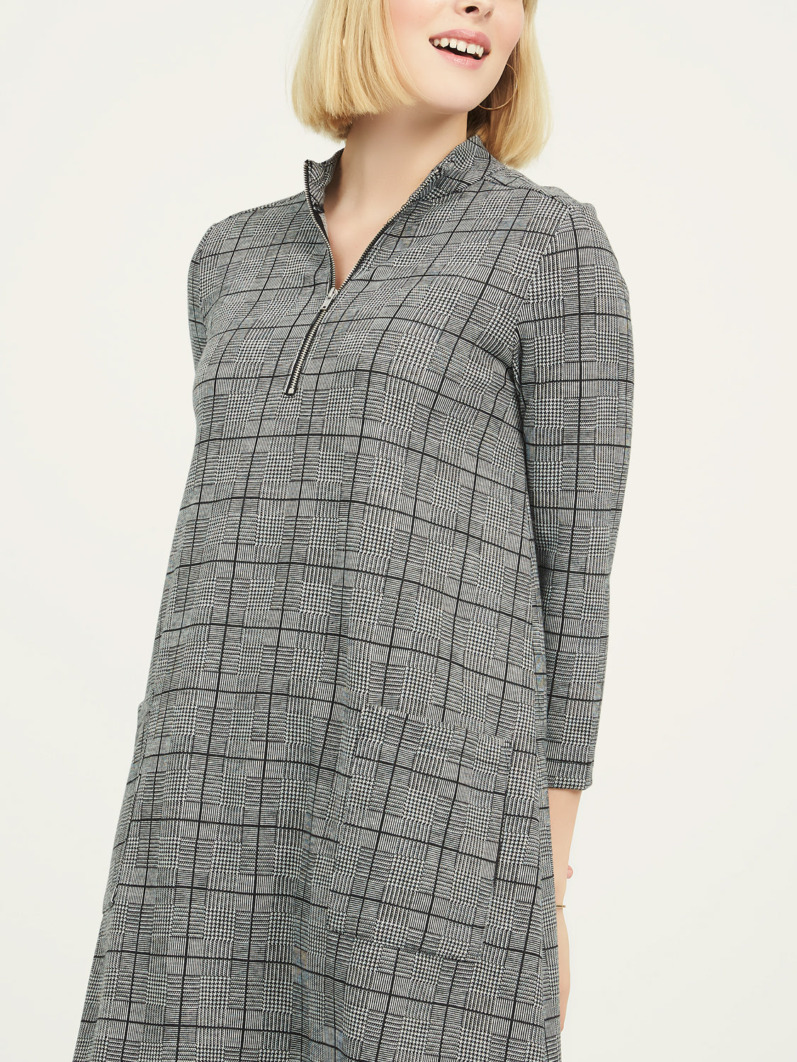 Jacquard Mock Neck Dress