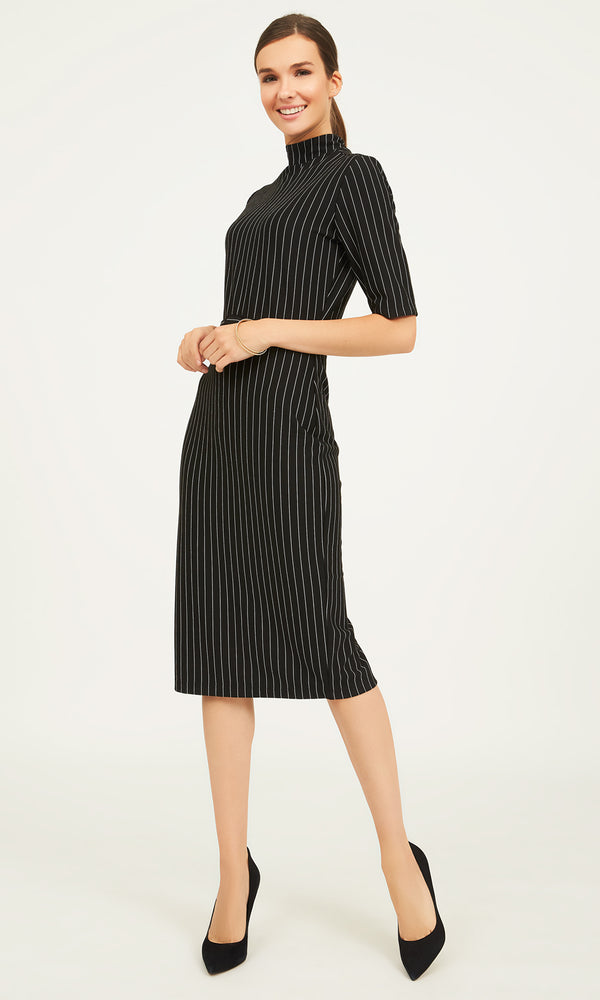 Striped Midi Mock Neck Dress