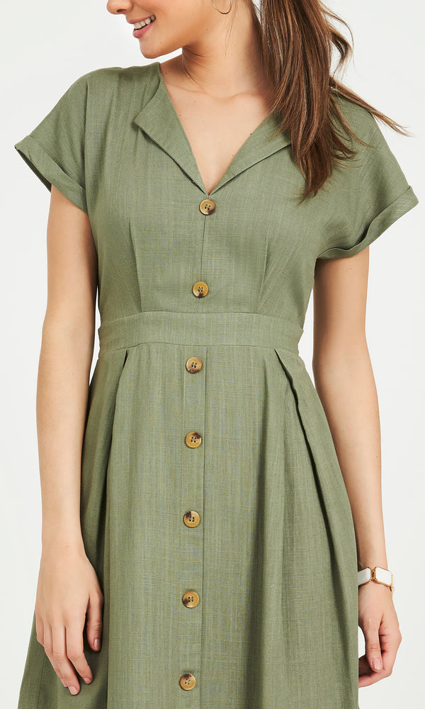 Button-Down Cap Sleeved Midi Dress
