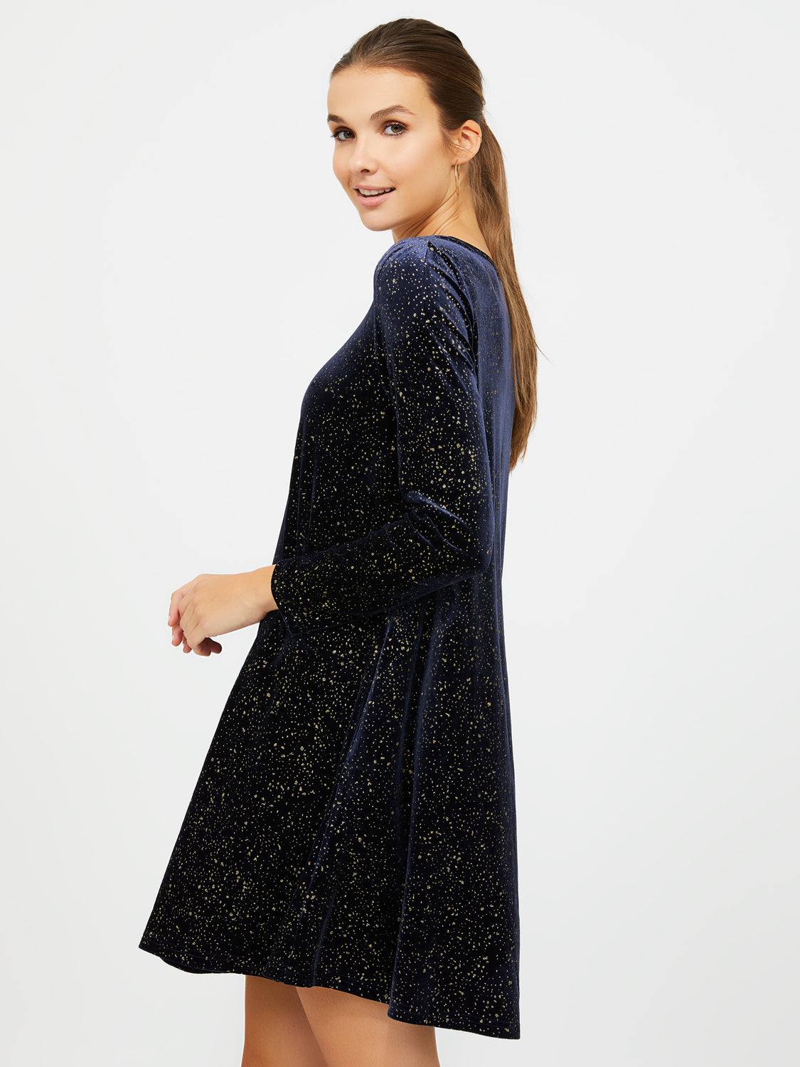 Pull-On Long Sleeve Glitter Swing Dress
