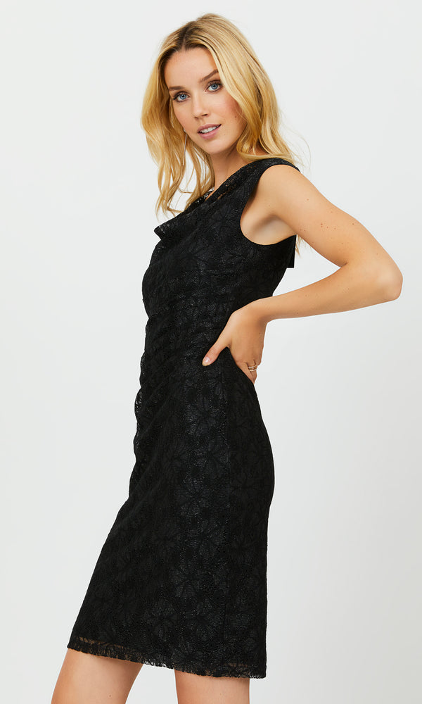Sleeveless Shiny Lace Sheath Dress