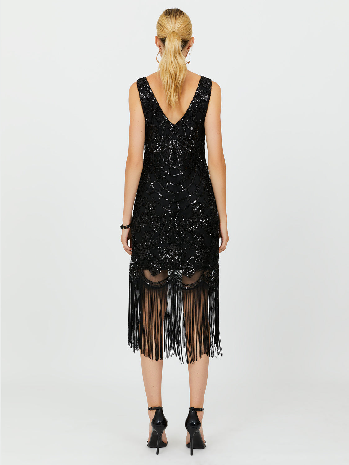 Pull-On Sleeveless V-Neck Mesh & Sequin Dress