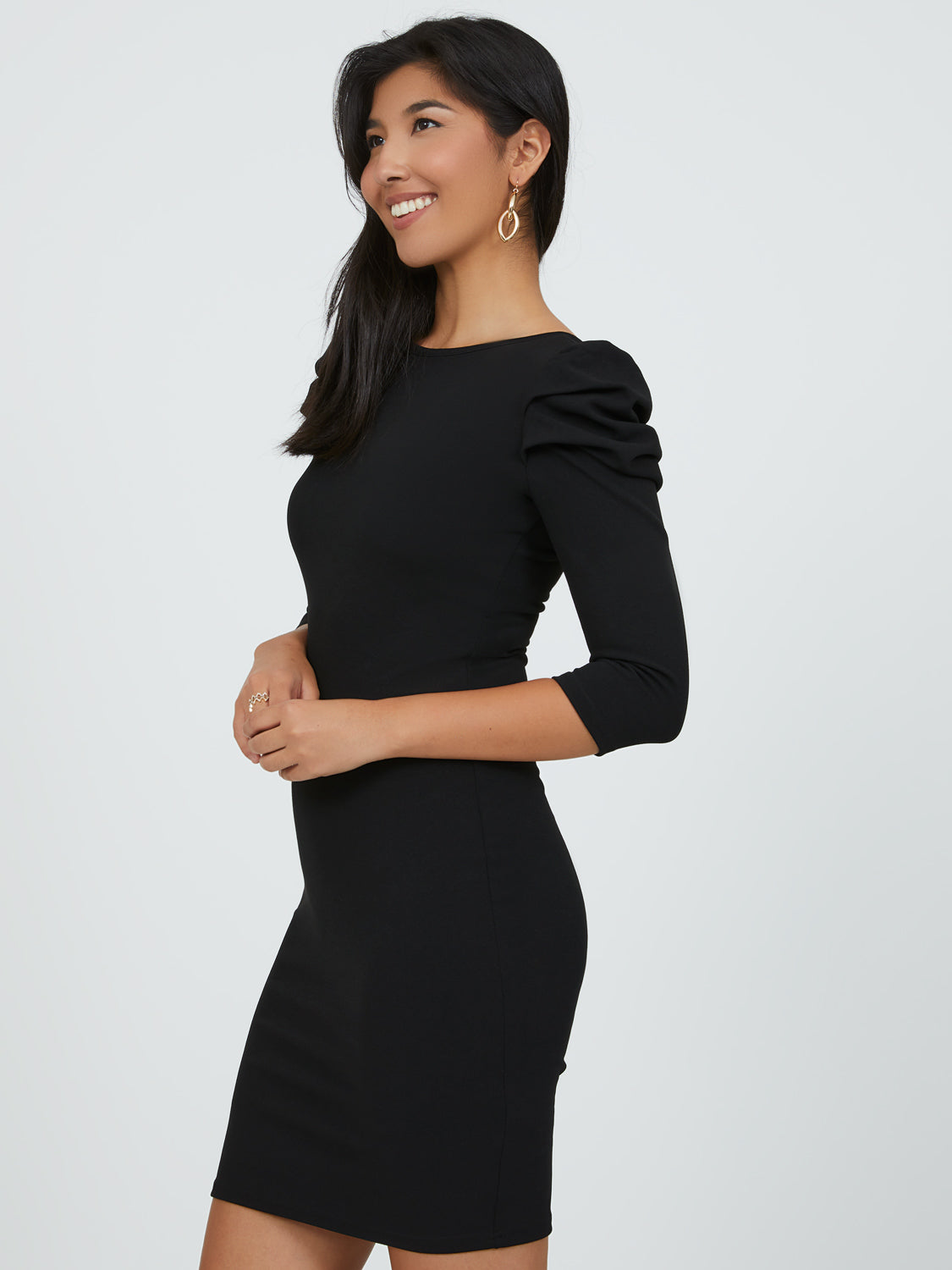 Pleated Elbow Sleeve Sheath Mini Dress