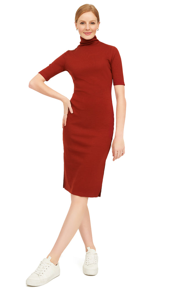 Rib Knit Mock Neck Elbow Sleeve Dress