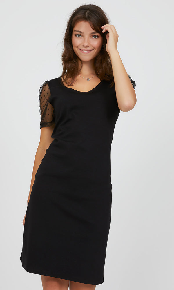 Short Swiss Dot Puff Sleeve Sheath Midi Dress
