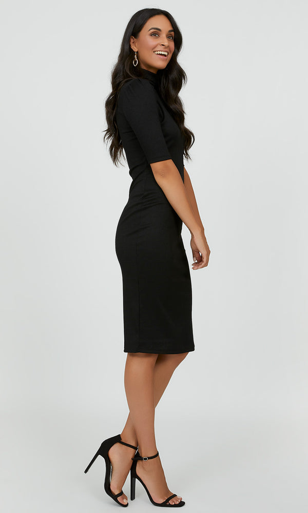 Mock Neck Sheath Midi Dress