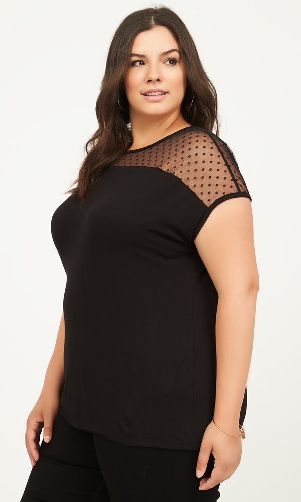 Plus Size Swiss Dot Mesh Yoke Jersey Tee