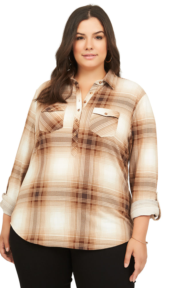 Plus Size Plaid Button-Down Shirt