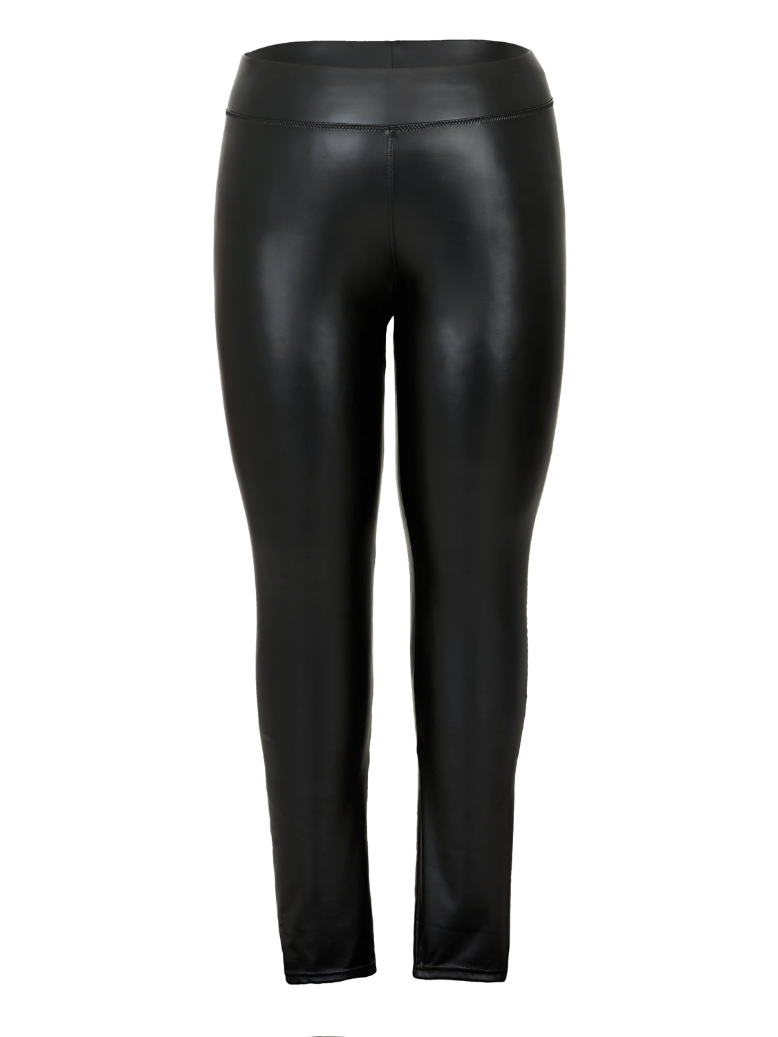 Plus Size Faux Leather Wide Waist Legging