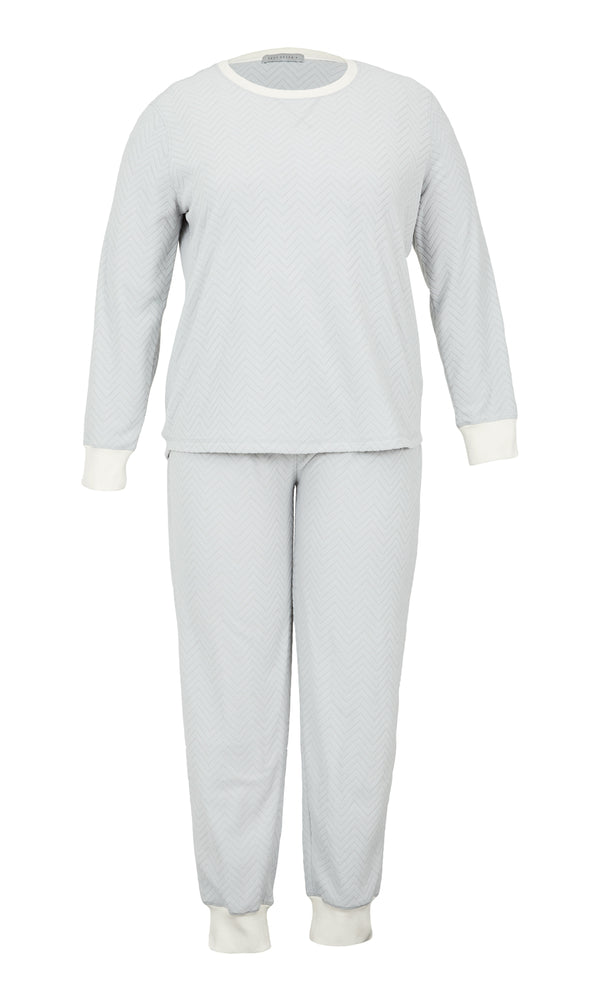 Plus Size 2-Piece Ribbed Velour Pyjama Set