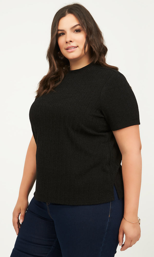 Plus Size Elbow Sleeve Ribbed Sweater Tee