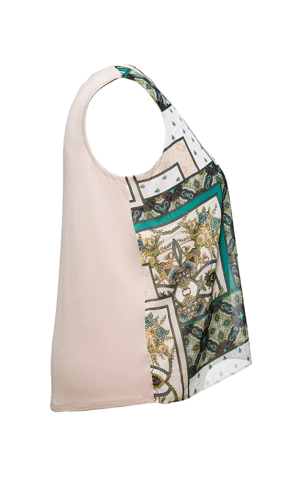Plus Size Scarf Print Tank Top