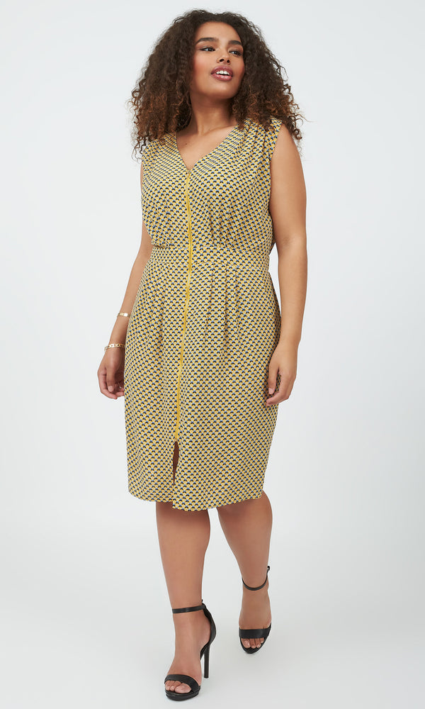 Plus-Size V-Neck Sleeveless Shirt Dress