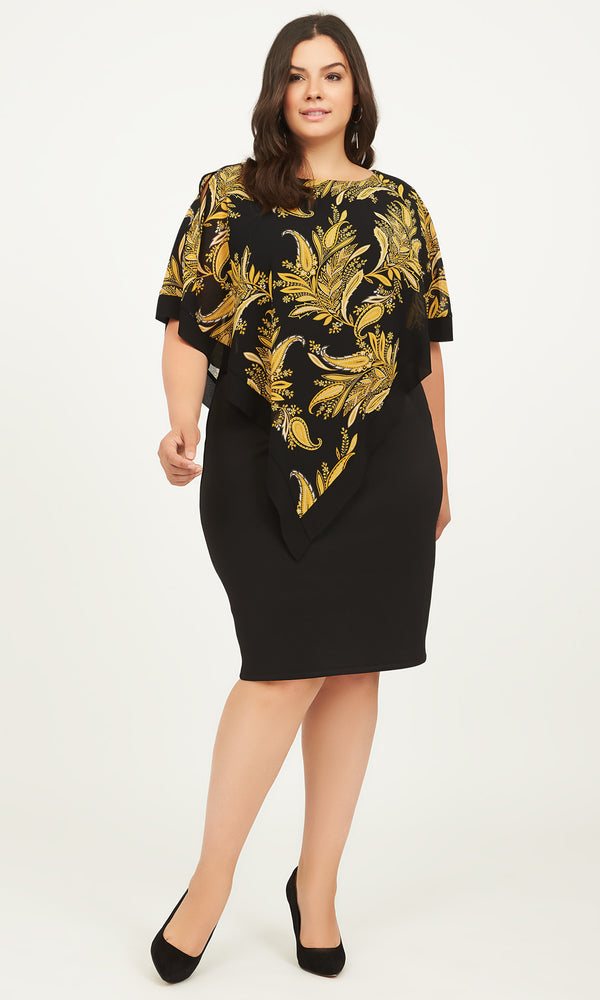 Paisley Sheath Chiffon Dress