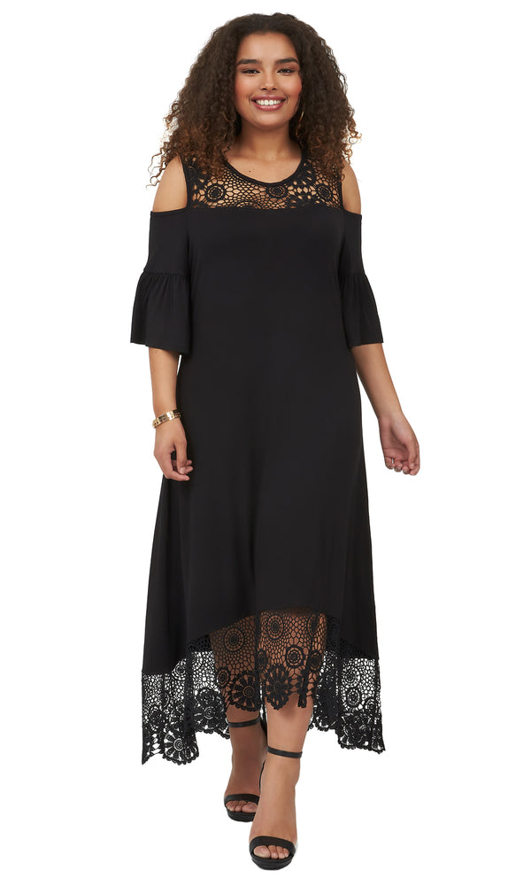 Plus Size Cold-Shoulder Crochet Jersey Dress