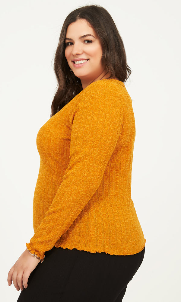 Plus Size Ribbed Long Sleeve Henley Tee