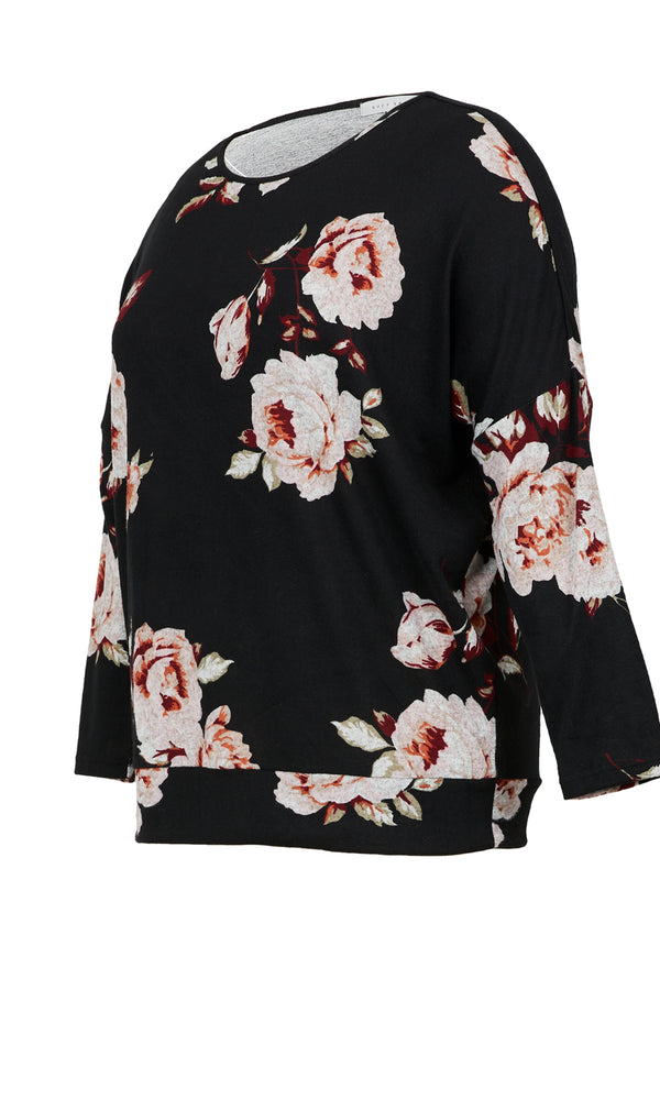 Plus Size Floral Brushed Hacci Top