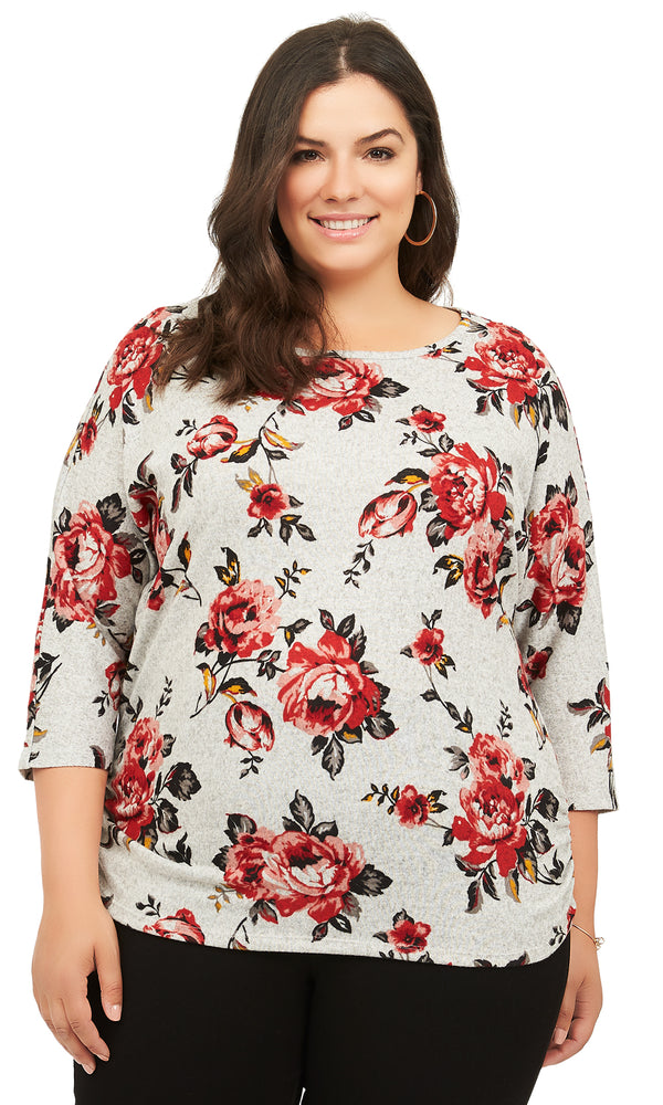 Plus Size Printed 3/4 Sleeves Sweater
