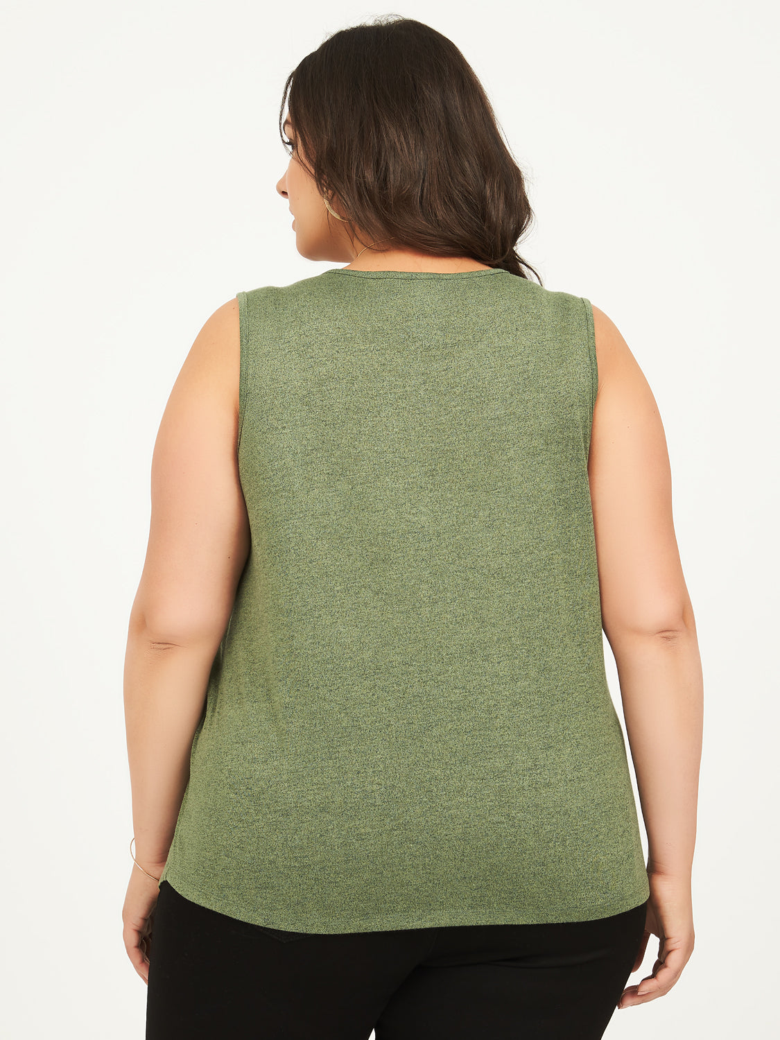 Plus Size Sleeveless Hacci Asymmetrical Tank Top