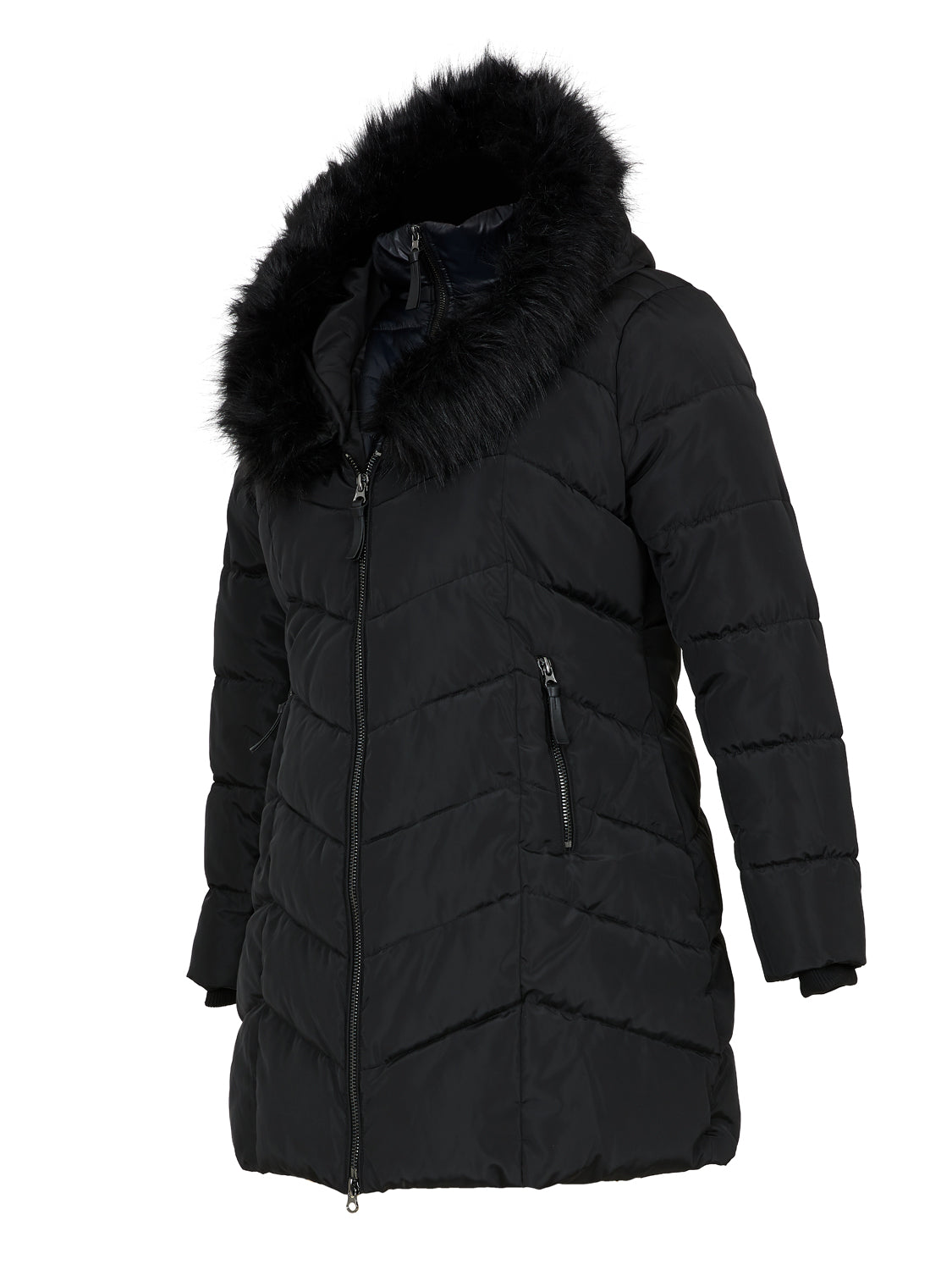 Plus Size Mix Media Fooler Puffer Jacket