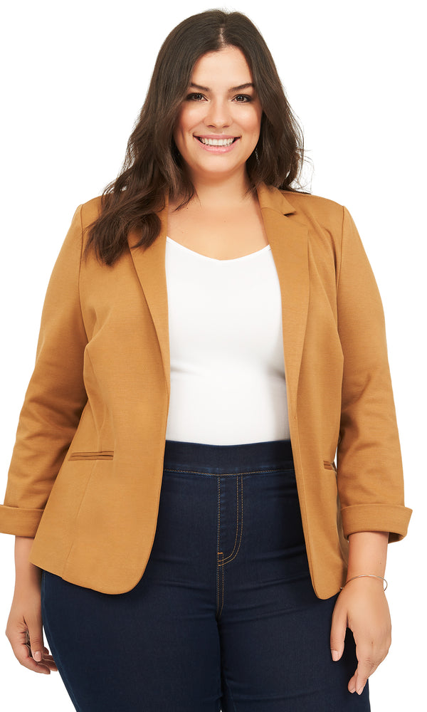 Plus Size Unlined Cuffed Sleeve Knit Blazer