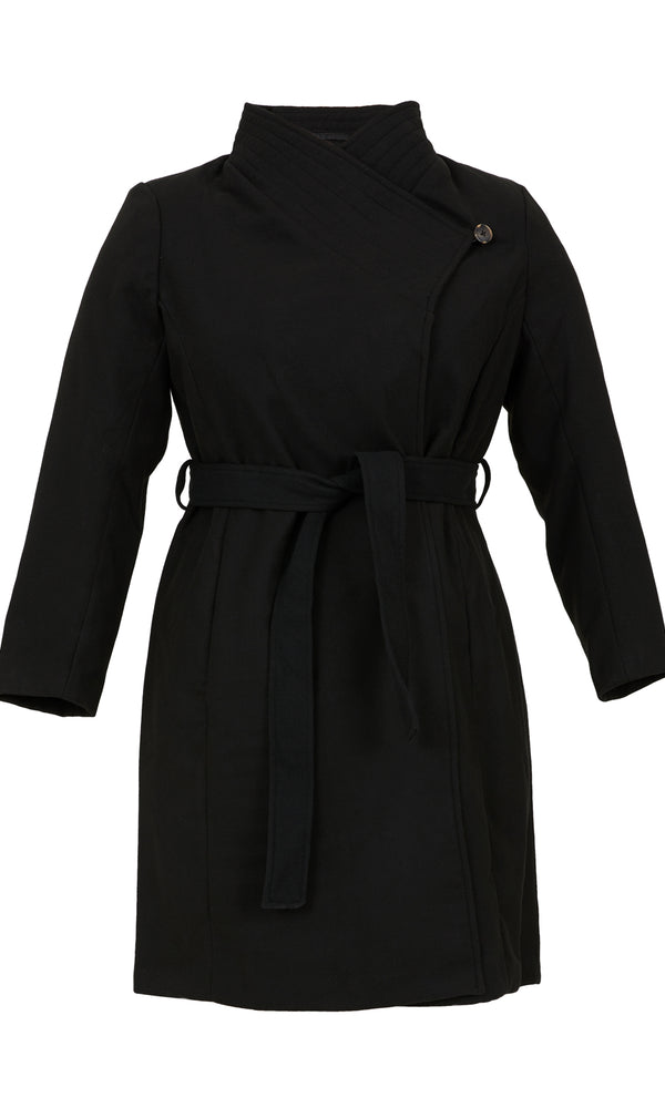 Plus Size Melton Duchess Wrap Coat