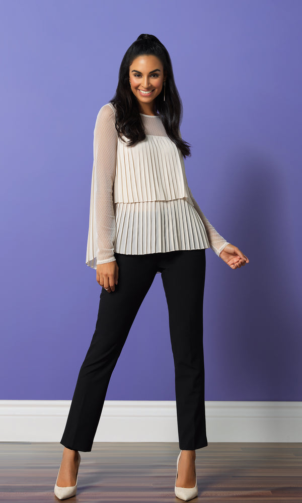 Double Tier Pleated Swiss Dot Mesh Blouse