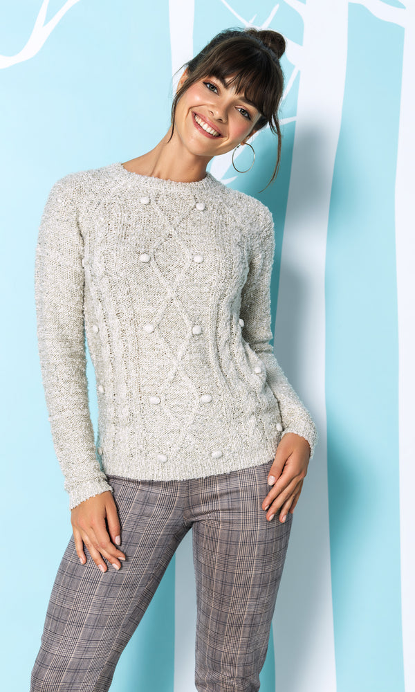 Crew Neck Pompom & Sequin Sweater