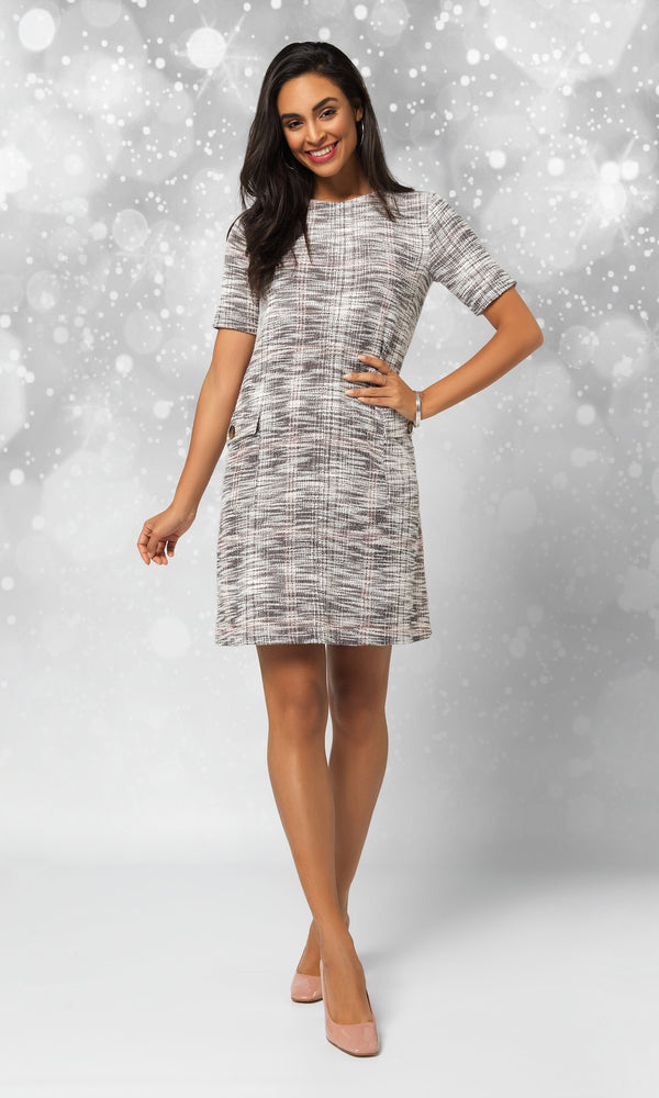 Knit Jacquard Sheath Mini Dress