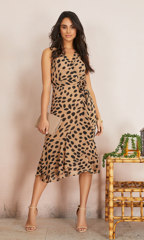 Sleeveless Animal Print Ruffle Dress