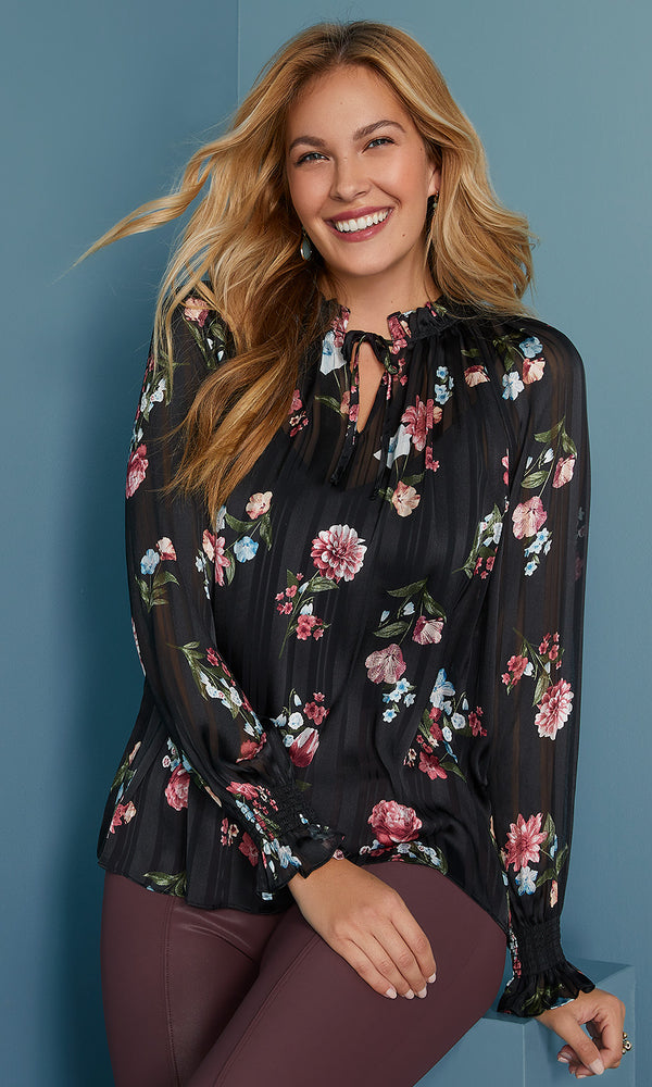 High Neck Chiffon Blouse