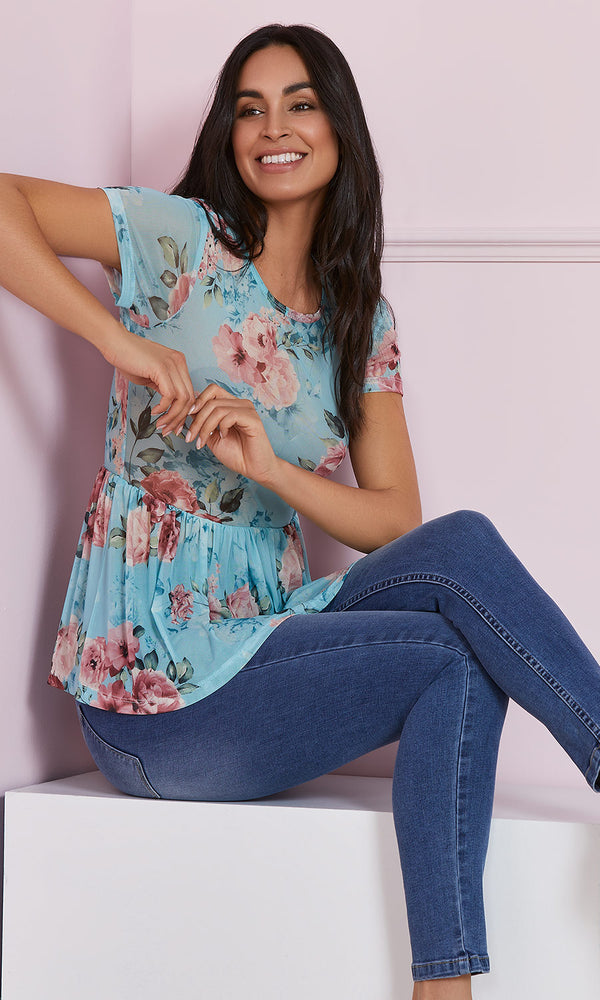 Floral Peplum Babydoll Knit Top