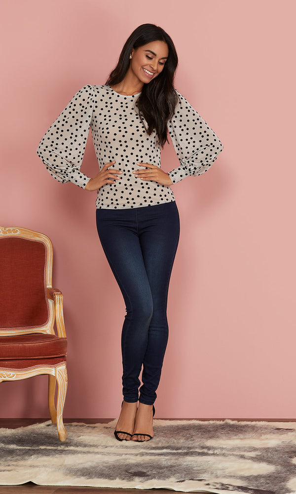 Balloon Sleeve Polka Dots Top